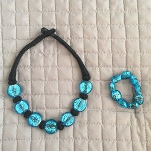 Turquoise Glass Bead Necklace and Bracelet Set